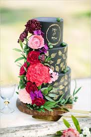 black and gold wedding cake with sugar flowers by cake by t bakes