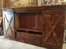 Pine Barn Door by Barn Door Entertainment Cabinet With X Barn Doors Furniture From