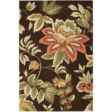flower area rugs nourison french country chocolate 8 ft x 10 ft 6 in area rug