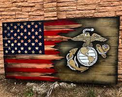 wooden flag wall usmc american flag marine flag armed forces