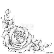 vector illustration with one dotted rose flower and leaves in