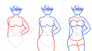 sketch of anime body draw anime body figures stepstep drawing