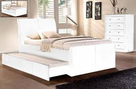 lecca king single size w trundle bed black white brown pu leather
