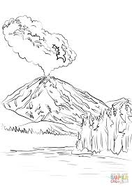 lassen peak volcano eruption coloring page free printable