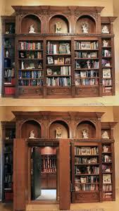 interior classic open plan wall bookshelves hidden door secret