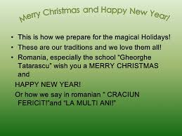 hello and happy holidays from romania and new year are