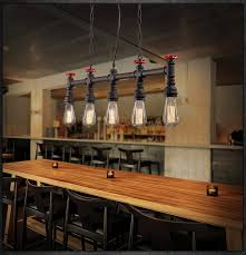 Vintage Dining Room Lighting Retro Loft Style Water Pipe L Edison Pendant Light Fixtures