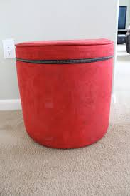 Ottoman Red by Red Color Round Fabric Ottoman With Storage And Zipper For Living