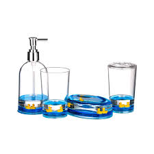 Acrylic Bathroom Accessories 4pc Bathroom Accessories Set Floating Ducks Design Acrylic Finish