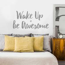 wake up be awesome decal kiss cut inspirational quote wall zoom