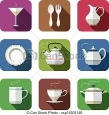 vaisselle cuisine vaisselle ensemble cuisine icônes opacité ombres vecteur