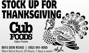 up for thanksgiving cub foods