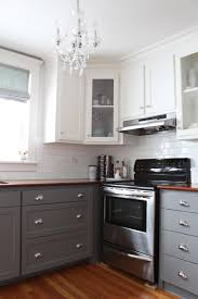 Black Kitchen Cabinets White Subway Tile Kitchen L Shaped Gray Wood Cabinet White Front Glass Wall