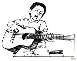 man playing guitar drawing drawing sketch picture