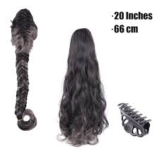 grey hair drawstring ponytail black mixed grey color synthetic long curly claw braid ponytail