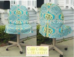 turquoise chair slipcover cozy cottage slipcovers office chair slipcovers