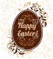 brown easter egg with text ornamental edging and stylized leaf