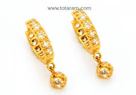 baby gold earrings gold baby hoop earrings ear bali with cz in 22k gold 235