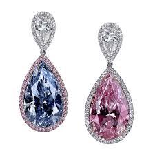 pink diamond earrings fancy pink and fancy light blue diamond earrings jacob co