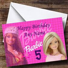 barbie personalised birthday card the card zoo