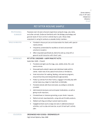 education section of resume example pet sitter resume samples tips and templates pet sitter resume sample