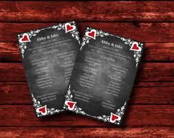 Chalkboard Wedding Program Template Chalkboard And Red Etsy