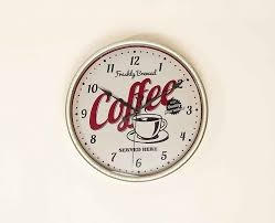 60s Clock Red Chrome Retro 50 U0027s 60 U0027s Style Kitchen Wall Clock Coffee Theme