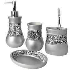Bathroom Accessories by Creative Scents Brushed Nickel Bath Ensemble 4 Piece Bathroom