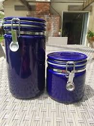 purple canisters for the kitchen pair of vintage cobalt blue beehouse japan ceramic kitchen coffee