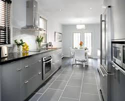 gray and white kitchens countertops backsplash gray ceramic tile floor black quartz