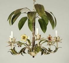 Tree Chandelier Palm Tree Chandelier Gold Leaf Metal And Crystal Palm Frond