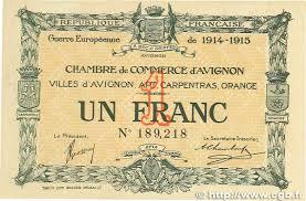 numero de chambre de commerce 1 franc regionalism and miscellaneous avignon 1915 jp 018 05