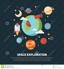 Invitations And Cards Space Theme Banners And Cards With Flat Astronomic Stock Vector