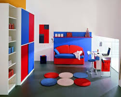 bedroom kids fancy boys decoration idea with red car themed bed