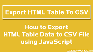 javascript quote html tags export html table data to csv using javascript codexworld