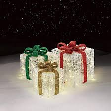 3 light up gift box decorations cheerful ornaments from sears