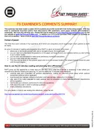 acca f9 examiner comments summary