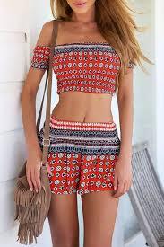 matching set smocked crop top mini skirt matching set oasap