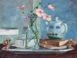 how to paint a still life with anemones and teapot in gouache with