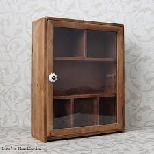 Small Cabinets With Glass Doors Finish Antique Brown Wood Small Storage Cabinet With Glass