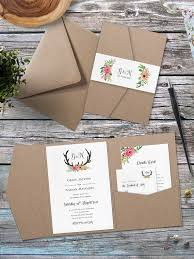 Folded Wedding Invitations Eco Kraft Pocket Fold Floral Antler Wedding Invitation Pocket
