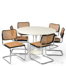 marcel breuer dining table saarinen dining table and six marcel breuer chairs sale number
