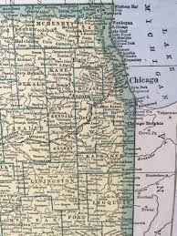Illinois On The Map by 1943 Vintage Map Pages Illinois On One Side And Indiana On The