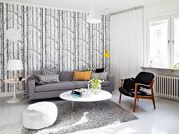 Grey Living Room With Yellow Accent Wall Scandinavian Interior Wallpaper Yellow Accent In Huis