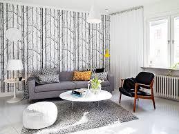 scandinavian interior wallpaper yellow accent in huis
