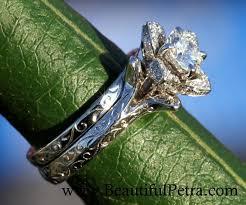 custom ring engraving wedding set unique flower diamond engagement ring and