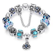 european charm bracelet beads images Youfeng jewellery silver tone european charm bracelet blue murano jpg