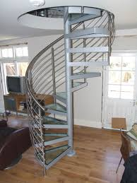 striking spiral staircase kits that painted in brown blended with