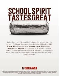 gift card fundraiser chipotle fundraiser phs band boosters parsippany focus