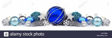 border of blue and silver ornaments on a white background